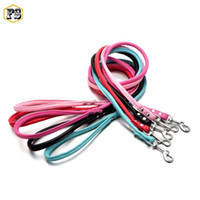 Wholesale Leather Dog Leashes Harnesses - Fashion PET supplies dog leashes PU leather leads small dog puppy harness collar leashes 10 colors 120cm wholesale free shipping