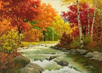 Wholesale beautiful oil paintings art online - 100 Handmade Art beautiful Classical Landscape Oil painting Reproduction Modern Canvas Wall Art Office bedroom Home living Room Decor FJ138