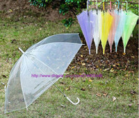 Wholesale Transparent Clear Umbrella Wholesale - 50PCS Fedex DHL Free shipping Transparent Umbrellas Clear PVC Umbrellas Long Handle Umbrella Rainproof 6 Colors
