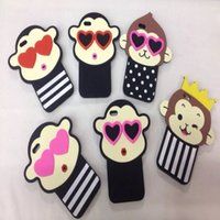 Wholesale 3d Monkey Iphone Case - Cartoon Monkey Creative Cell Phone Case for iPhone 5 Silicone Cartoon 3D Back Cover Case for iphone 6 6 plus