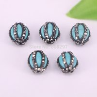 Atacado 20Pcs Crystal Rhinestone Pave Bule Stone Druzy conector spacer Beads For Jewelry Making
