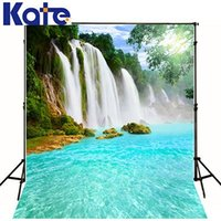 Wholesale Cheap Backdrops For Photography - 2017 Water Fall Colorful Scenery Backdrops For Photography Studio New Arriral Solid Quality Cheap Beautiful Backdrops (K19)