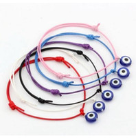 Wholesale pearl wax - 10pcs Hamsa String Evil Eye Lucky Red wax Cord Adjustable Bracelet Gift DIY