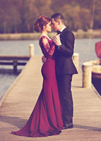 Wholesale Evenig Long Dress - 2017 Burgundy Lace Long Sleeves Evening Dresses With Sweetheart Neck Covered Button Back Mermaid Evenig Gowns Cheap Dresses Evening Wear