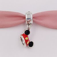 Wholesale Mouse Charms Jewelry - Authentic 925 Silver Beads Mickey Mouse Mickey Ear Hat Charm Charms Fits European Pandora Style Jewelry Bracelets & Necklace 7501057370328P