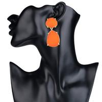 Wholesale Earring Acrylic Dangle - 2017 new fashion Acrylic Long Tassels big gem Drop earrings fashion luxury Dangle Chandelier earrings for women statement jewelry wholesale