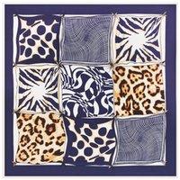 Wholesale Square Scarves Leopard Print - Wholesale-100cm*100cm Twill Silk Women 100% Silk Square Grid Geometric Leopard Dot Printed High Quality Scarf Muslim Hijab B115