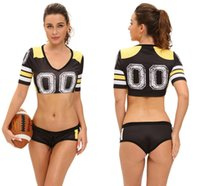Wholesale Cheerleader Uniform Sets - 2018 World Cup 4 Color Sexy Red Fantasy Football Costume Set Sports Cosplay Women Uniform Sexy Cheerleader Costumes LC8891