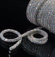 cuerda de la taza al por mayor-¡envío gratis! SS28 6mm 5 yardas / lot cosen en Crystal AB colores hechos a mano Flower Cup Rhinestone Chain lace plata Brillante Brillo Rope