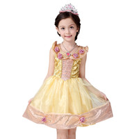 Wholesale costume beast - Fashion New Kids Girl Beauty and the Beast Cosplay Costume Kids Belle Princess Dress for Christmas Halloween free shipping