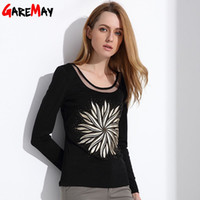 Wholesale V Neck Big Shirt Women - Ladies Clothes 2017 Fashion Tops Y Blusas Shirt Female Long Sleeve OL Printed Blouses For Women Clothes Big Size GAREMAY 0712