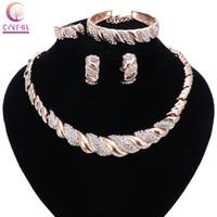 Wholesale Big Beads China - Fashion Women Dubai Gold Plated Crystal Jewelry Sets Big Nigerian Wedding African Jewelry Sets African Beads Jewelry Sets
