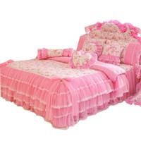 reina de cama rosa al por mayor-Estilo coreano de encaje rosa ropa de cama colcha rey reina tamaño 4 unids princesa funda nórdica cama faldas ropa de cama de algodón textil para el hogar