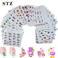 Wholesale Transfer Tattoo Nails - 50sheets Retail Mixed Flower 50Styles Water Transfer Sticker Nail Art Decals Beautiful DIY Decor Temporary Tattoos XF1001-1050