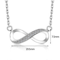 Wholesale Infinity Rhinestone Charm - 2017 high quality 925 Sterling Silver Infinite Love Infinity Symbol Tiny Charm Necklace white gold plated good present gift for women