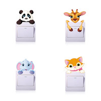 Wholesale Cat Tile - Wholesale Cartoon Elephant Cat panda Switch Stickers DIY for Bedroom Bathroom Kids Room Kitchen Living Room Decor Decorations Wall Stickers