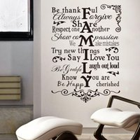 Wholesale Home Tiles - * Creative black color Family Rules Be Happy quote wall stickers removable home wall sticker decals home decoration mural art
