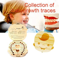 Wholesale Milk Teeth - New Baby Wood Tooth Box Organizer Save Milk Teeth Wood Storage Collecting Teeth Gifts Umbilical Cord Lanugo For Boy Girl