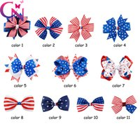 Wholesale America Clips - Fashion 11 Style Baby Ribbon Bow Flag America Hairpin Clips Large Bowknot Barrette Kids Hair Boutique Bows Children Hair Accessories A7136