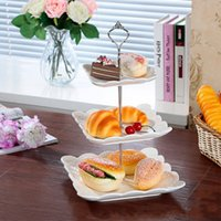 Wholesale Cake Stand Handles Wholesale - Crown Multi-layer Cake Stand Dessert Fruit Plate Stand Handle Cake Tool Vintage Style Zinc Alloy Cake Placed Tool Wedding Party Decoration