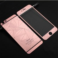 Wholesale Iphone 4s Gold Mirror - 3D Diamond rose gold Mirror Tempered Glass full Screen Protector rhombus electroplating sticker film for iphone 4s 5 se 6 6s plus 7 plus