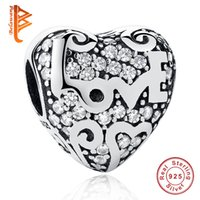 BELAWANG s'adapte à Pandora BraceletNecklace Bricolage Faire des 925 Sterling Silver Love Heart Shape Charm Beads Lettre LOVE Beads Crystal for Women Gift
