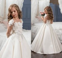 Wholesale Illusion Neckline Communion Dress - 2017 Flower Girls Dresses For Weddings Sheer Neckline Lace Appliques Beads Crystal 3D Flowers Half Sleeves Birthday Children Pageant Gowns