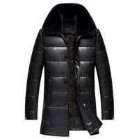 Wholesale White Leather Coats For Men - Winter Jacket For Men Duck Down Parkas Leather Coat Fox Fur Collar Snow Jacket Waterproof Windbreaker Outerwear Warm Thick 2017