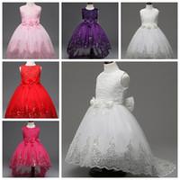 roupas de dama de honra venda por atacado-Crianças vestido de festa Vestidos Para Meninas 2017 Little Bridesmaid Lace Batizado Tutu Vestido Cerimônias Crianças Crianças Roupas Andar de comprimento saias