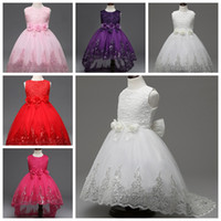 Wholesale Bridesmaid Dresses For Little Girls - Kids gown party Dresses For Girls 2017 Little Bridesmaid Lace Christening Tutu Dress Ceremonies Children Kids Clothing Floor-Length skirts