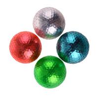 Wholesale Sponge Rubber Balls - 4pcs 4 Colors Double Golf Training Foam Balls Golf PP and elastic rubber Swing Indoor Training Aids Practice Sponge Foam Balls