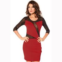 Wholesale Mini Babe - 2016 Fashion New Women Dress Brand Half Sleeve Decolletage Dress with Mesh Babe Blue Red Bodycon Women Dresses