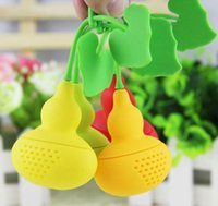 Wholesale Blue Gourd - Unique Cute Gourd Shaped Tea Strainer New Arrivel Silicone Tea Infuser Filter Diffuser Multicolor Randomly Send