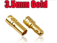 Wholesale Helicopter Bullet - Good quality 40 pairs Lot TB35 3.5mm Gold Bullet Banana Connector plug 3.5 mm Thick Gold Plated For ESC Battery free Sh