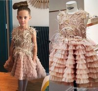 Wholesale Ivory Gold Blush Wedding - Vintage Blush Toddler Flower Girl Dresses with Feather 2017 Sparkly Gold Beaded High Low Little Girls Communion Pageant Wedding Party Dress
