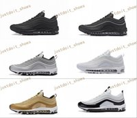 Wholesale Max Men Running Shoes - New Max 97 Mens Low Running Shoes Cushion Men OG Silver Gold Anniversary Edition Sneakers Man Maxes Sport Athletic Sports Trainers Shoes