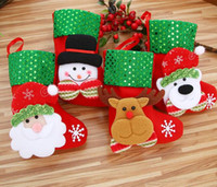 Wholesale Black Santa Ornaments - Small sequins Christmas stocking xmas decorations Children gift candy bag santa claus socks Christmas tree ornaments santa sacks G676