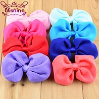 Wholesale Diy Bowknot Chiffon - Nishine Artificial Boutique Chiffon Bowknot For Kids Girls Headwear Bow Accessories For DIY Headband(Color:14 Colors)