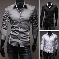 Wholesale Blazer Mens Clothing - 2017 Summer Spring Mens Shirt Long Sleeve Slim Fit Clothing Man Dress Shirts Print Camisa Social Masculina Chemise Homme
