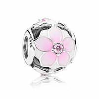 Wholesale Glass Silver Sterling - Authentic 925 Sterling Silver Bead Charm Enamel Magnolia Bloom With Crystal Beads Fit Women Pandora Bracelet Bangle DIY Jewelry HK3729