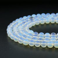 Wholesale Diy Semi Precious Stones - 8mm Natural White Opal Gemstone Beads Round Loose Beads Semi Precious Stone For Jewelry Making Diy Strand 48pcs Per Set