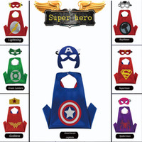 Wholesale Stage Masks - superhero cape 2017 Halloween Family School Performance Costume Cloak Mask Glove kids clothing boys clothes stain superhero costume masks