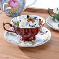 Wholesale Butterfly Coffee Cup - Wholesale- bone china butterfly coffee cup saucer finest quality porcelain mug with an elegant 24ct gold trim beautiful collection