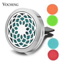 Wholesale Oil Plate - Car Essential Oil Diffuser Locket Vent Clip 316L Stainless Steel Pendant Flower Magnetic without Felt Pads VA-306