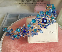 Wholesale Stone Tiara Crown - DG Blue Crystal handmade bride, Baroque tiara, wedding accessories wholesale, free delivery