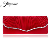 Wholesale Satin Roses Handbag - Wholesale- Women Satin Wedding Handbag Rose Flower Ruched Clutch Purse Banquet Bag Party Evening Bags Chain