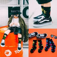Wholesale Korea Wholesale For Kids - Top Quality Winter Kids Maple Leaves Sock For Baby Korea Letter Ankle Socks Cotton Hip Hop Socks Toddler Socks 10pair lot CCA7573 50pair