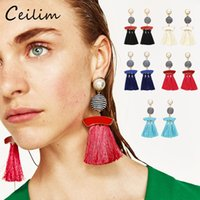 Wholesale Tassel Bead Earrings - 2017 ethnic bohemian colorful long tassel earings for women alloy gold statement dangle earrings with wax line beads fashion jewelry gifts