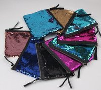 Wholesale Handbags Wallets Purses - Women Reversible Sequins Mermaid Glitter Handbag Evening Clutch Bag Wallet Purse makeup Bags Storage Coin bag 8 color KKA1631