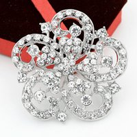 Wholesale Cheap Bridal Costume Jewelry - Rhodium Plated Alloy Big Flower Crystal Brooch Wedding Bridal Costume Jewelry Broaches Hot Selling Wholesale Cheap Women Gift Pins